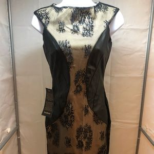 Bebe Body Fitting Midi Dress Black Lace